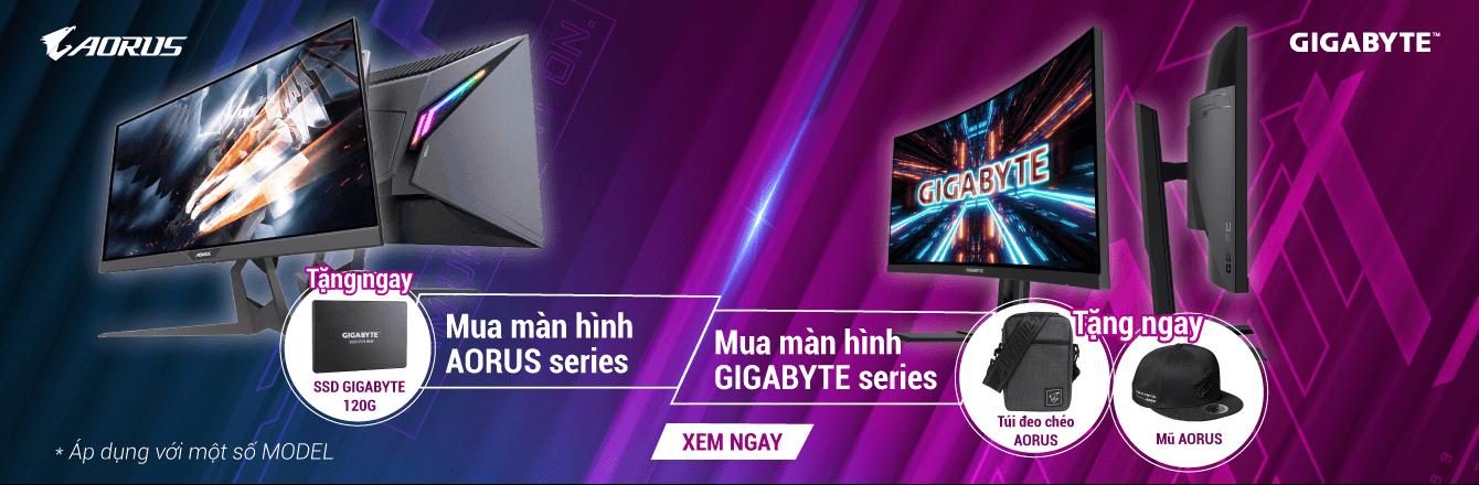 Màn hình Gigabyte tặng SSD, mũ, túi