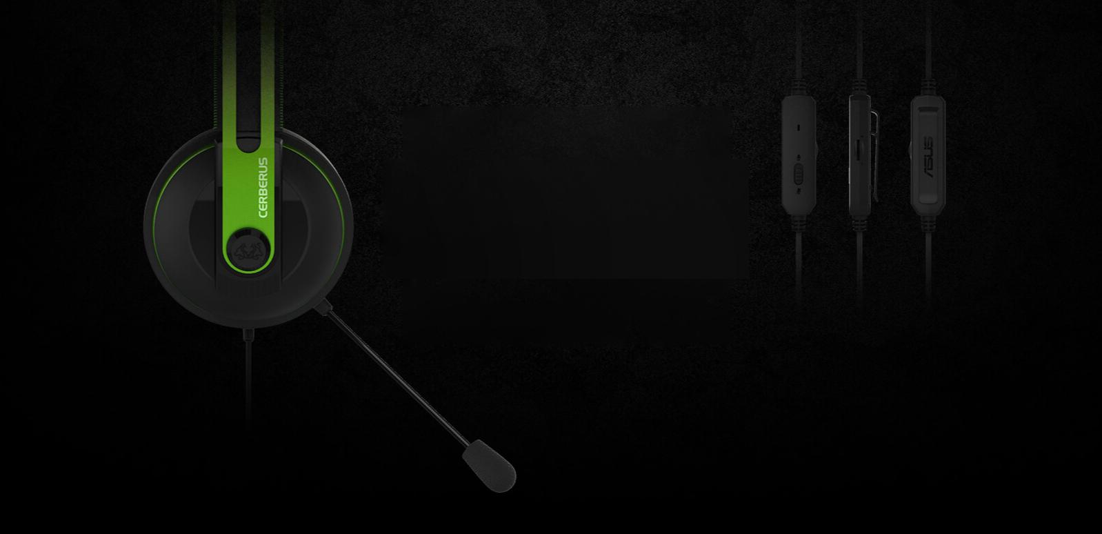 Tai nghe ASUS Cerberus V2 (Green, 3.5) trang bị micro kép thuận tiện