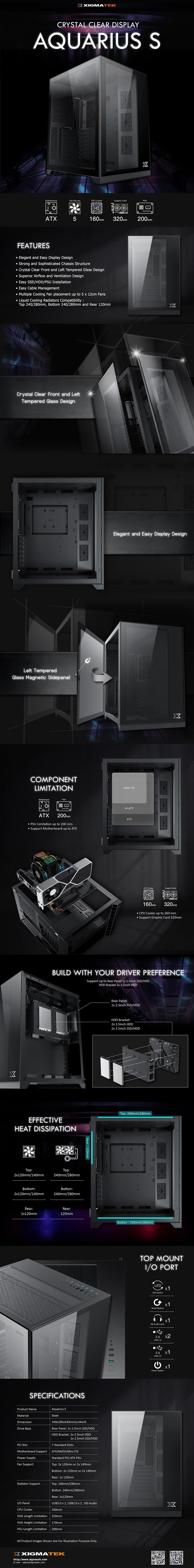 Vỏ Case Xigmatek  AQUARIUS S - BLACK EN46508 ( Mid Tower/Màu Đen) giới thiệu