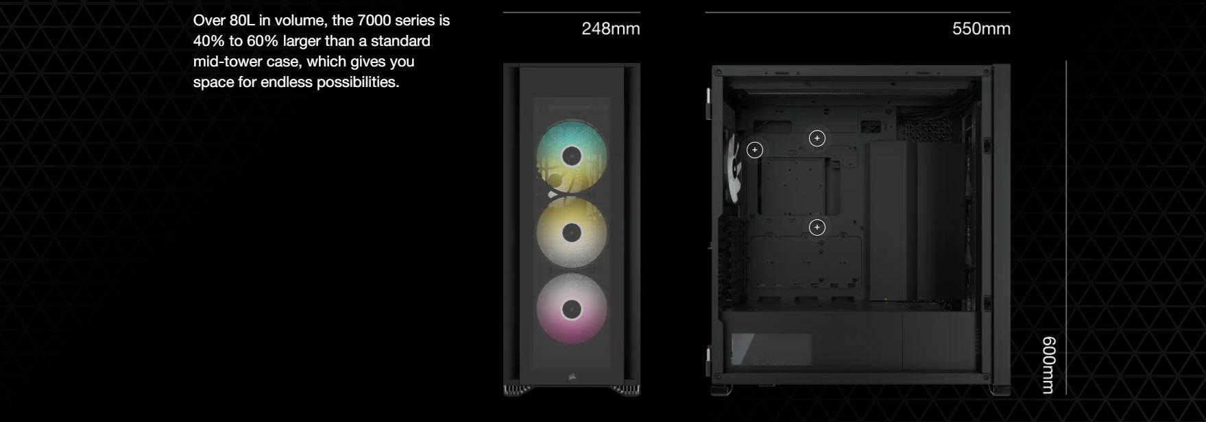Vỏ máy tính Corsair iCUE 7000X RGB TG White giới thiệu 1
