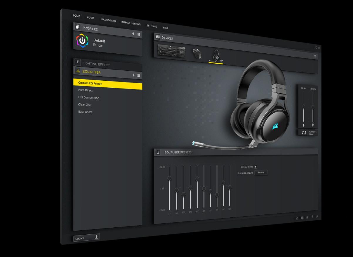 Tai nghe không dây Gaming Corsair Virtuoso RGB SE Gunmetal (CA-9011180-AP) có thể tuỳ chỉnh dễ dàng bằng phần mềm