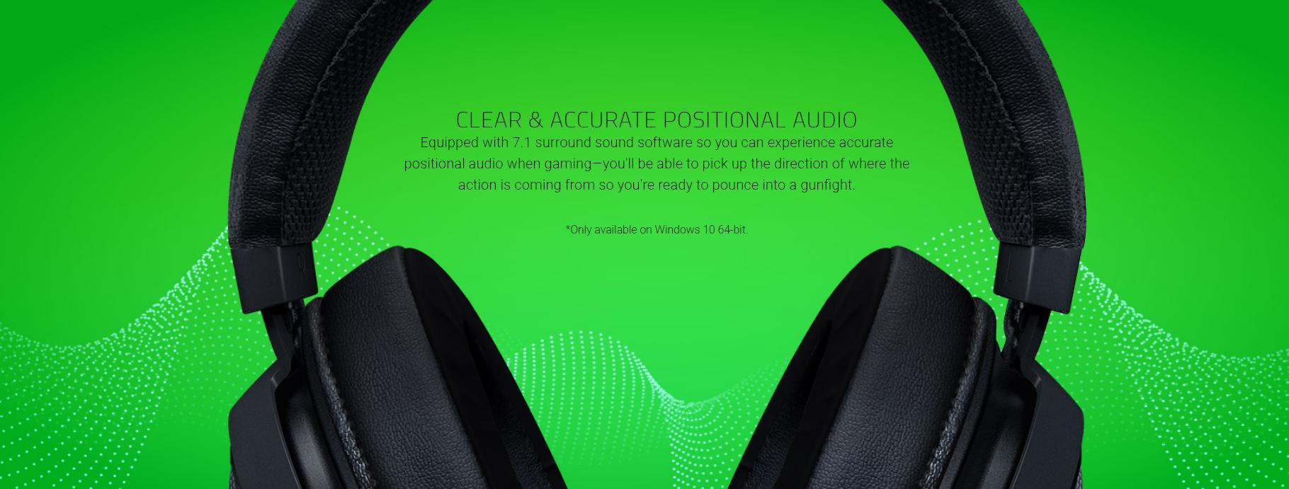 Tai nghe Razer Kraken Multi-Platform Wired Mercury RZ04-02830400-R3M1 tích hợp công nghệ âm thanh vòm