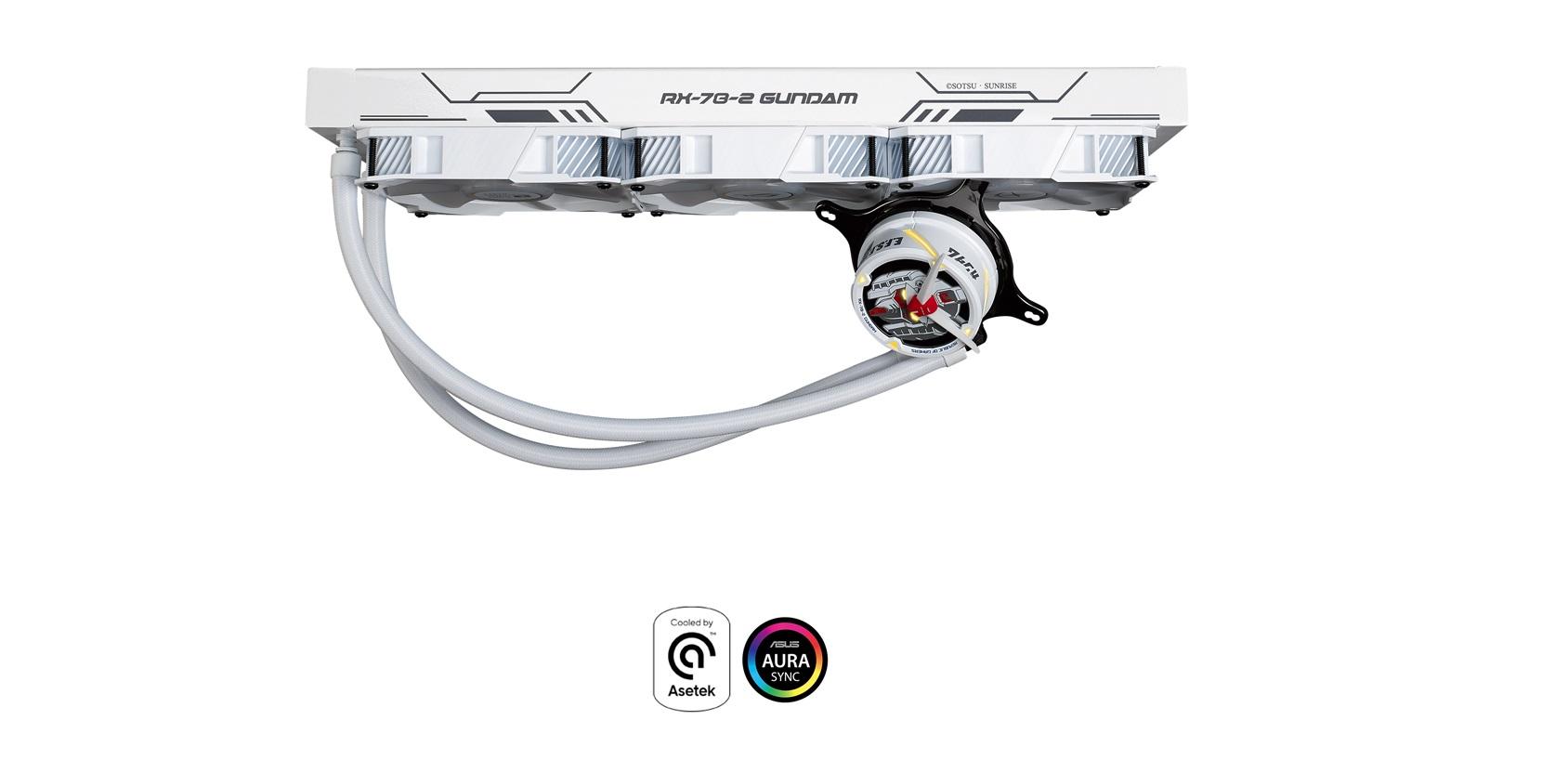 Tản nhiệt nước ASUS ROG STRIX LC 360 RGB GUNDAM với thiết kế nổi bật cùng màu trắng phong cách