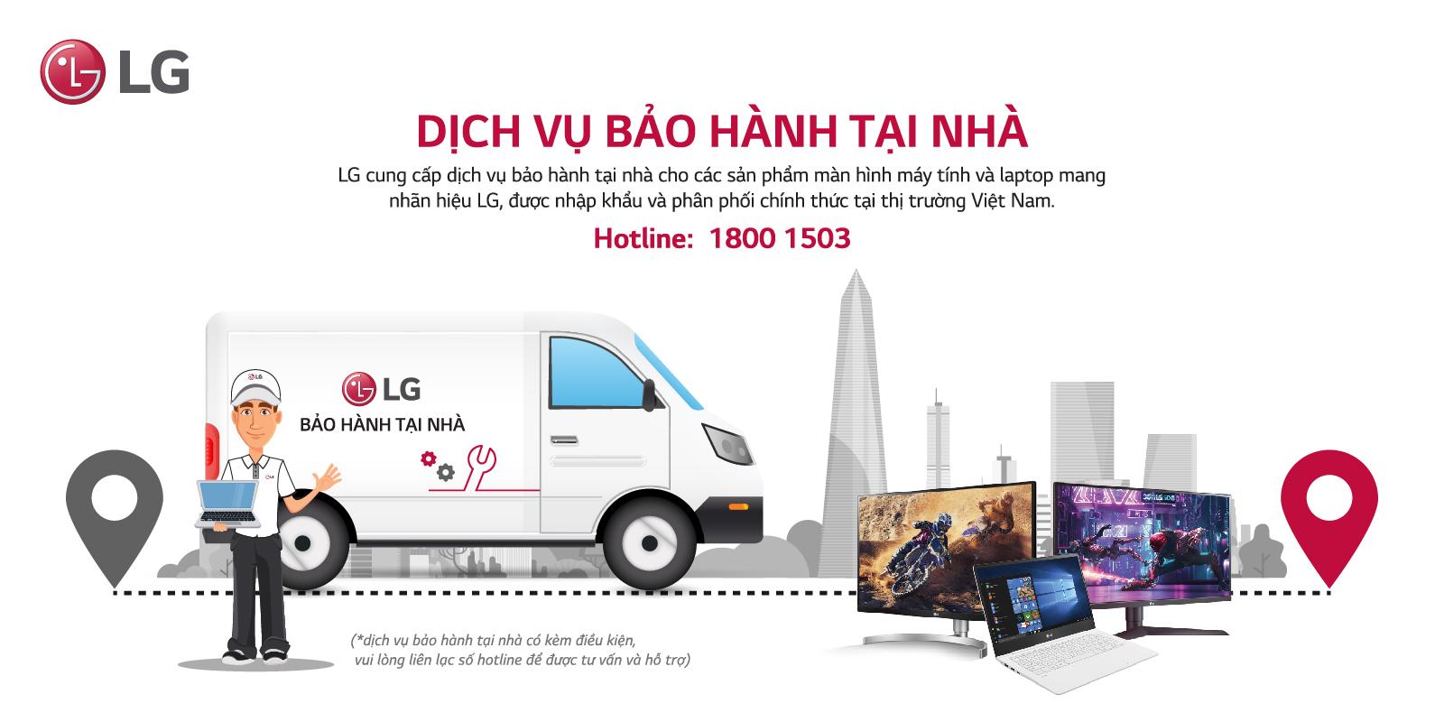 LG 24QP550-B có dich vụ bảo hành tại nhà