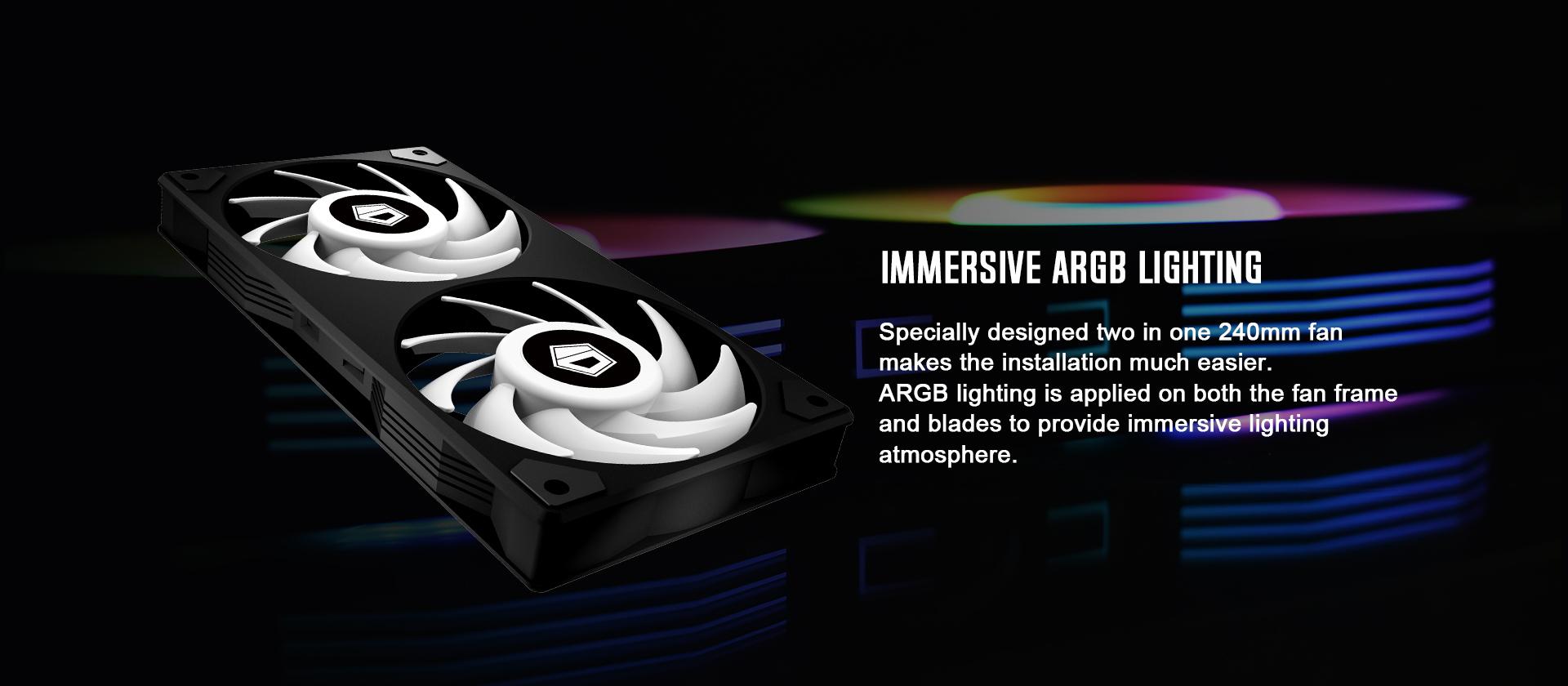 Tản Nhiệt Nước ID-COOLING ICEFLOW 240 ARGB đắm chìm trong màu sắc của ARGB từ mặt block và fan