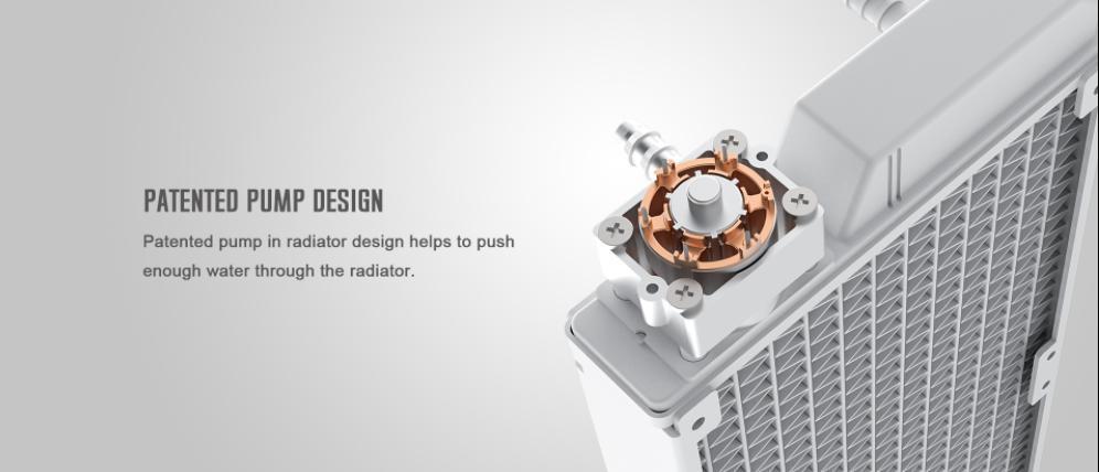 Tản Nhiệt Nước ID-COOLING ICEFLOW 240 ARGB SNOW được cấp bằng sáng chế về thiết kế bơm nhằm nâng cao hiệu quả bơm, giúp bơm liên tục luân chuyển dòng nước nóng - lạnh để nâng cao hiệu năng làm mát