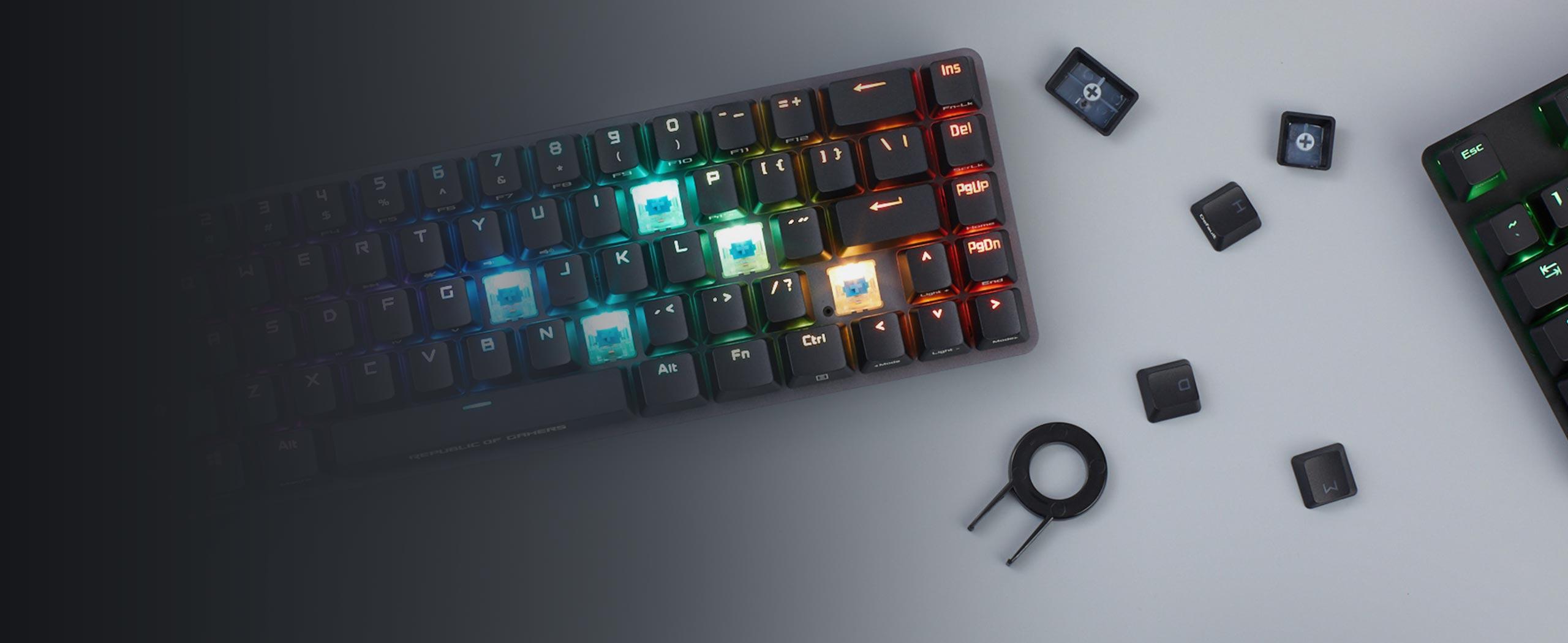 Bàn phím không dây Asus Falchion (USB/RGB/Red sw)  sử dụng bộ keycap pbt doubleshot cao cấp