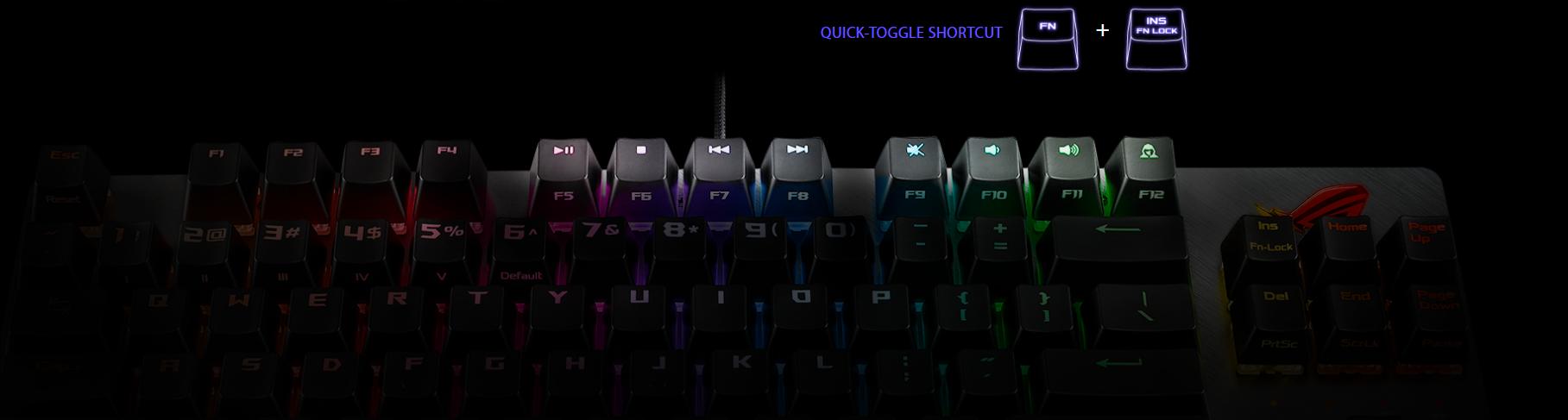Bàn phím Asus ROG Strix Scope TKL (USB/RGB/Red sw) có thể chuyển đổi chức năng dễ dàng