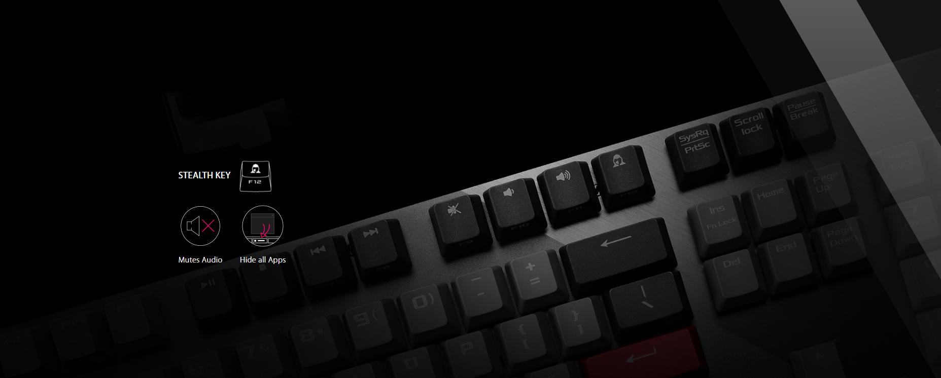 Bàn phím Asus ROG Strix Scope PBT (USB/Blue sw) có thể tắt nhanh ứng dụng và âm thanh