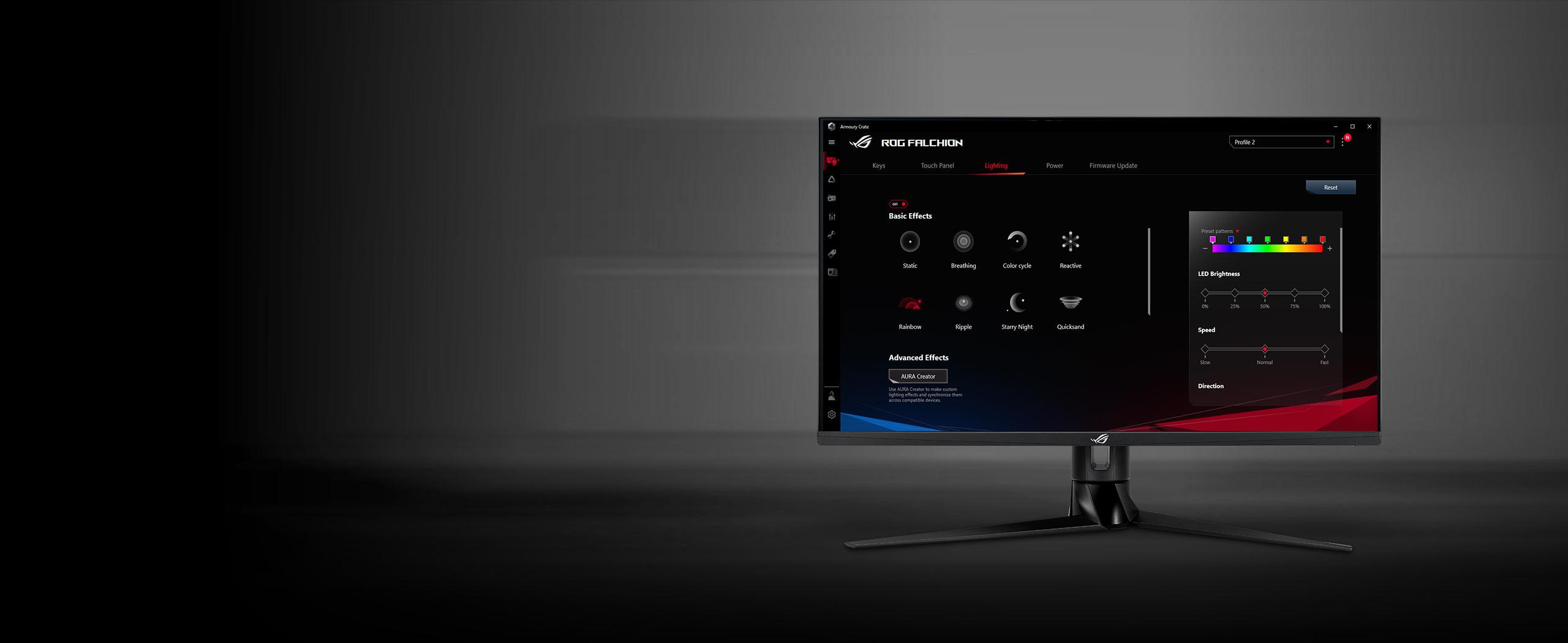 Bàn phím không dây Asus Falchion (USB/RGB/Red sw)  có thể tuỳ chỉnh dễ dàng qua phần mềm