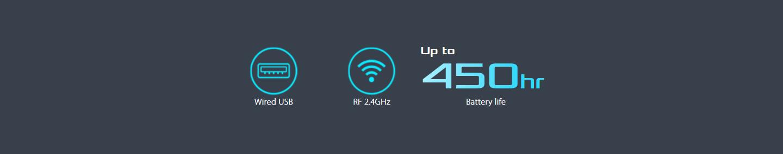 Bàn phím không dây Asus Falchion (USB/RGB/Red sw)  có thời lượng pin cao