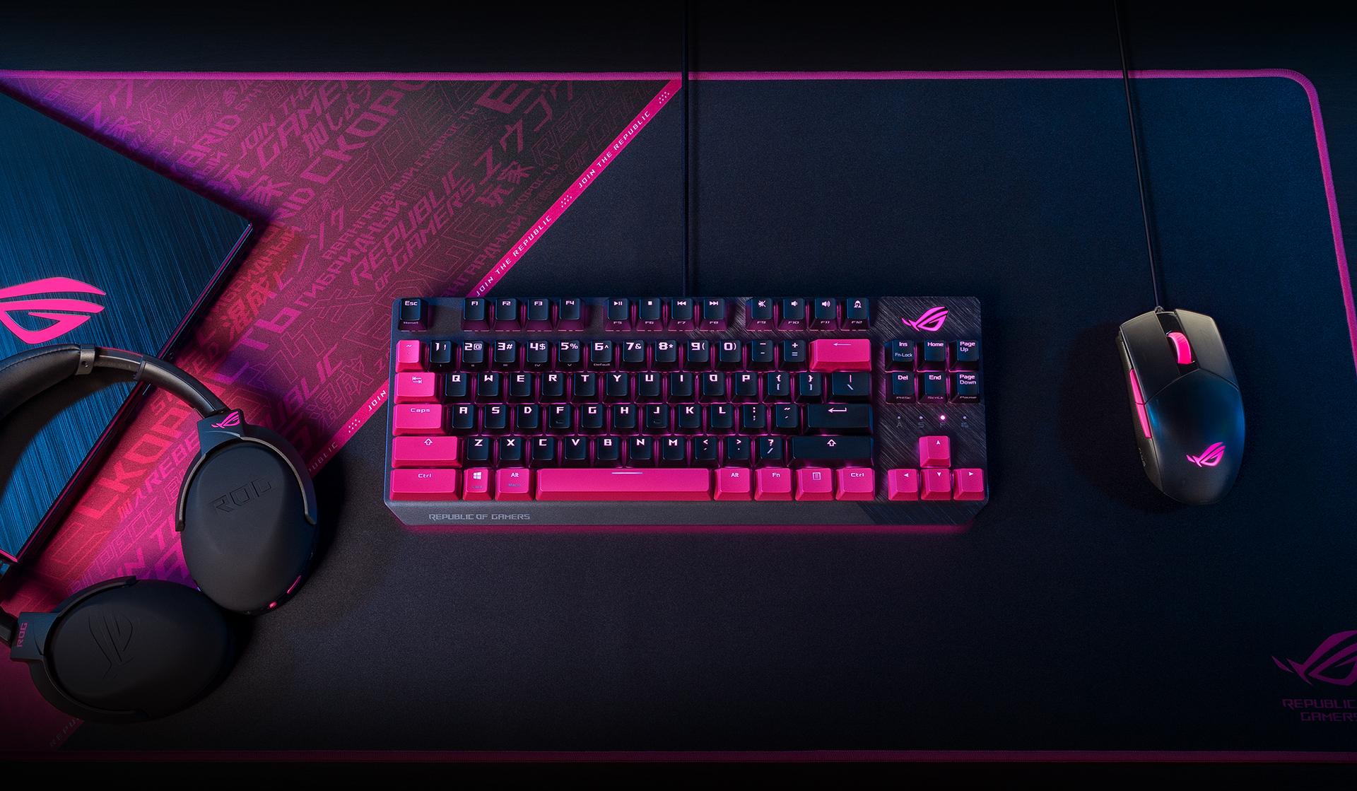 Thiết kế của Bàn phím Asus ROG Strix Scope TKL Electro Punk (USB/RGB/Red sw)