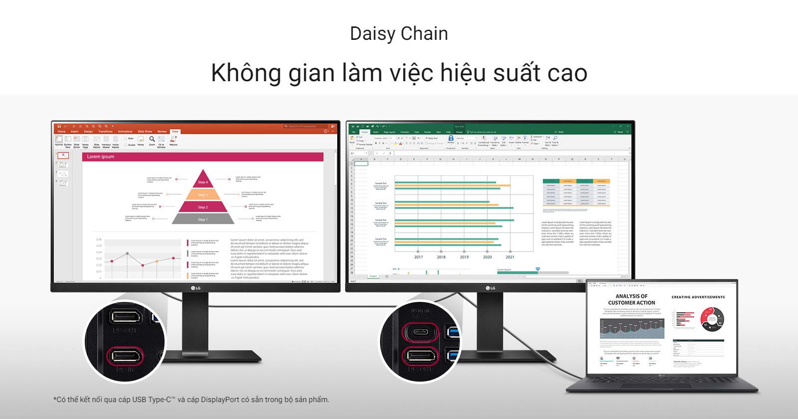 Màn hình LG 24QP750-B daisy chain
