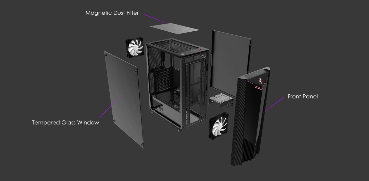 Vỏ Case MSI MAG SHIELD 110R (Mid Tower/Màu Đen) được thiết kế đơn giản, tối ưu cho việc tháo lắp case