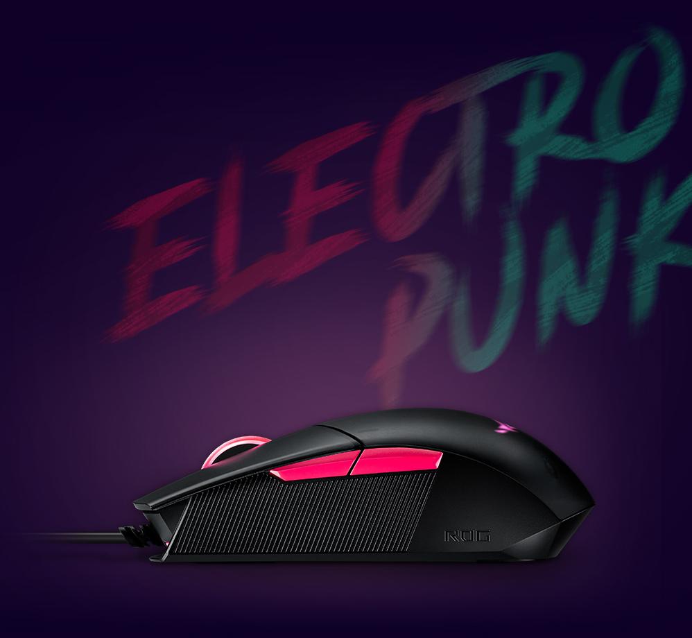 Chuột chơi game Asus ROG Strix Impact II Electro Punk (P512) (USB/RGB/Đen) trang bị công nghệ nút bấm xoay vòng