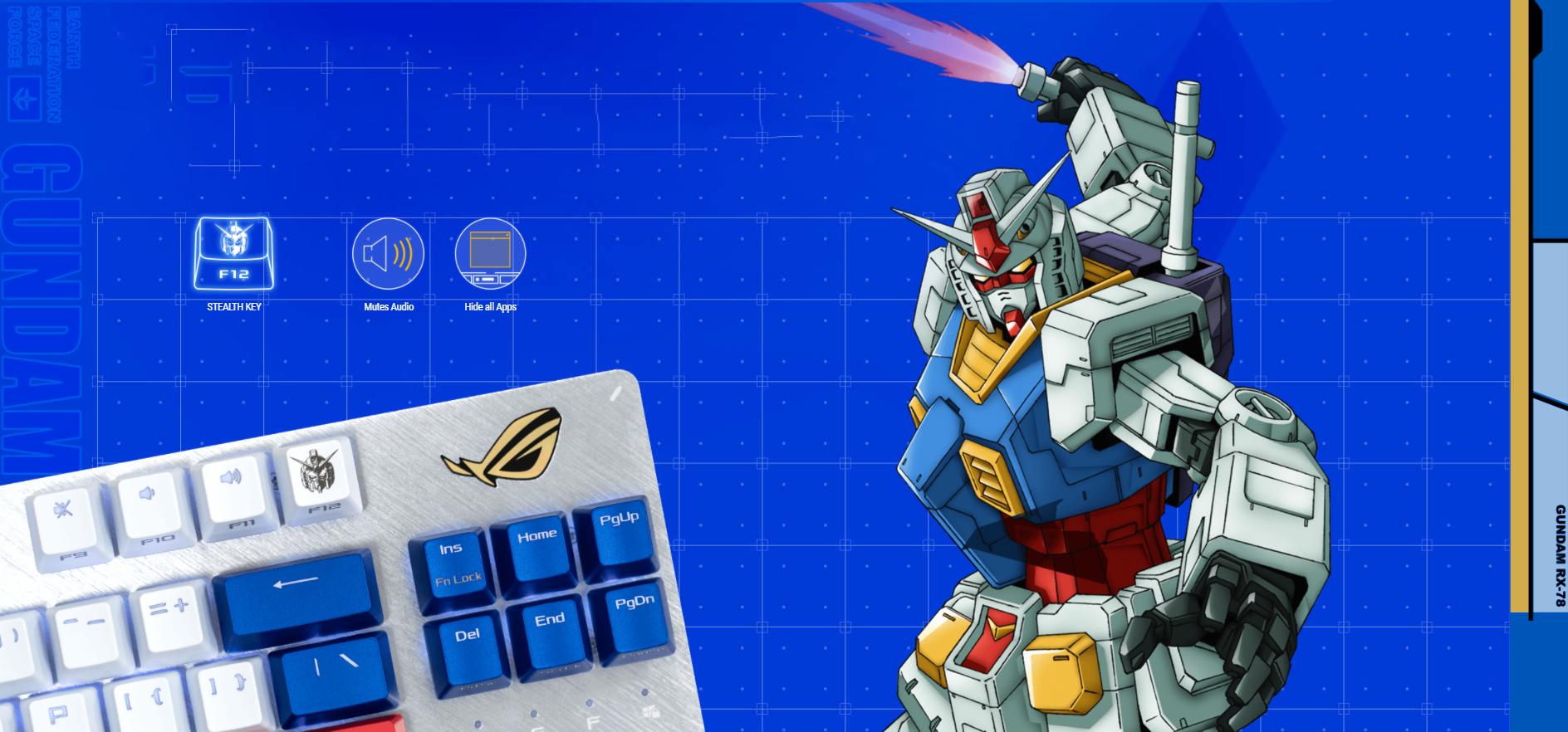 Bàn phím Asus ROG Strix Scope TKL Gundam (USB/RGB/Red sw) có thể ẩn app và âm thanh đang phát nhanh chóng