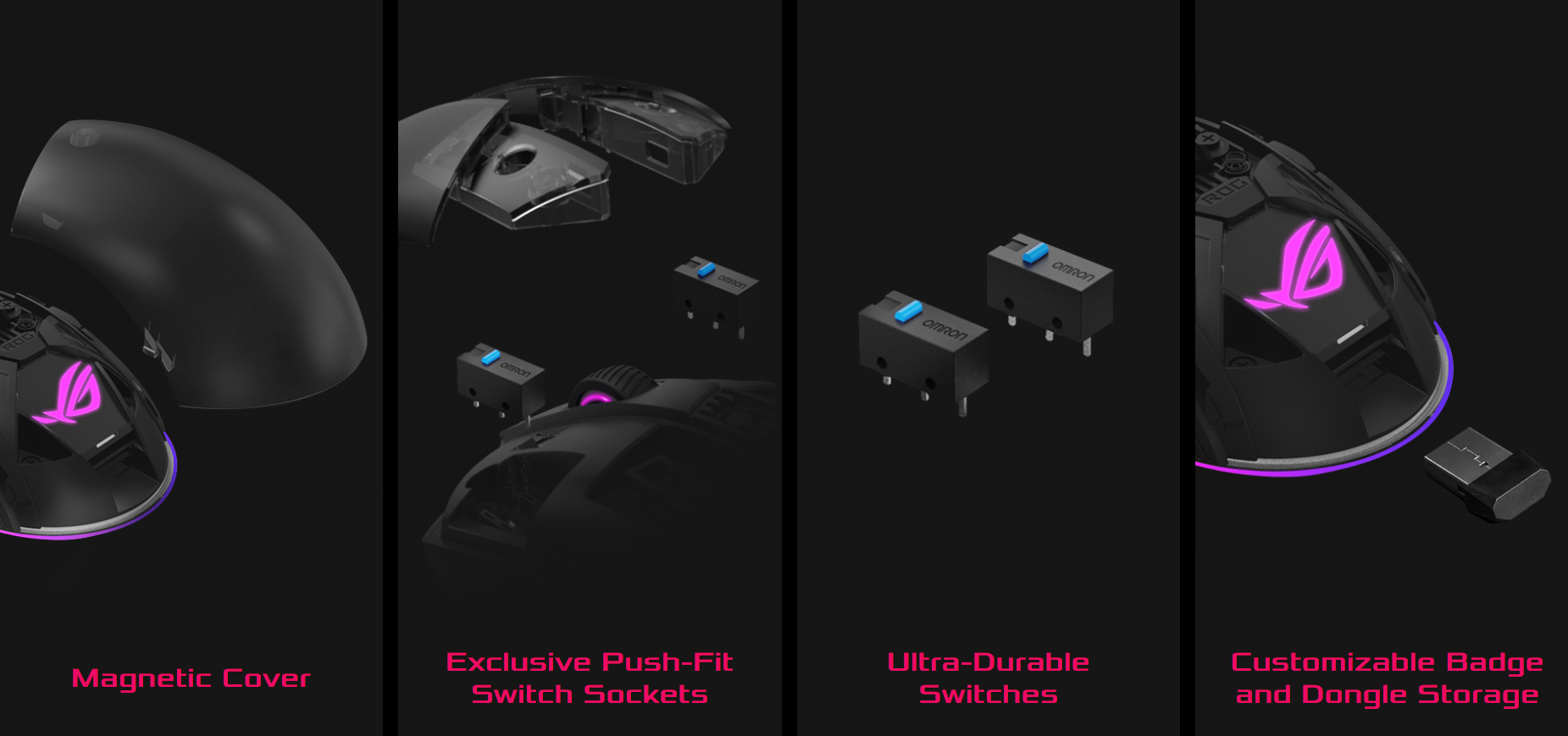 Chuột không dây chơi game Asus ROG Pugio II (P705) (USB/RGB/Đen) có tính năng độc quyền cao cấp