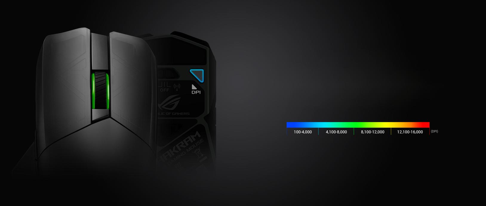 Chuột không dây chơi game Asus ROG Chakram (P704) (USB/RGB/Đen) có thể tuỳ chỉnh dpi dễ dàng