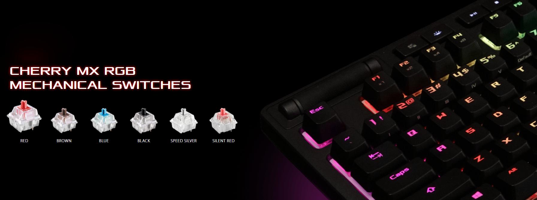 Bàn phím ASUS ROG Strix Flare RGB (Red sw) sử dụng switch cherry cao cấp