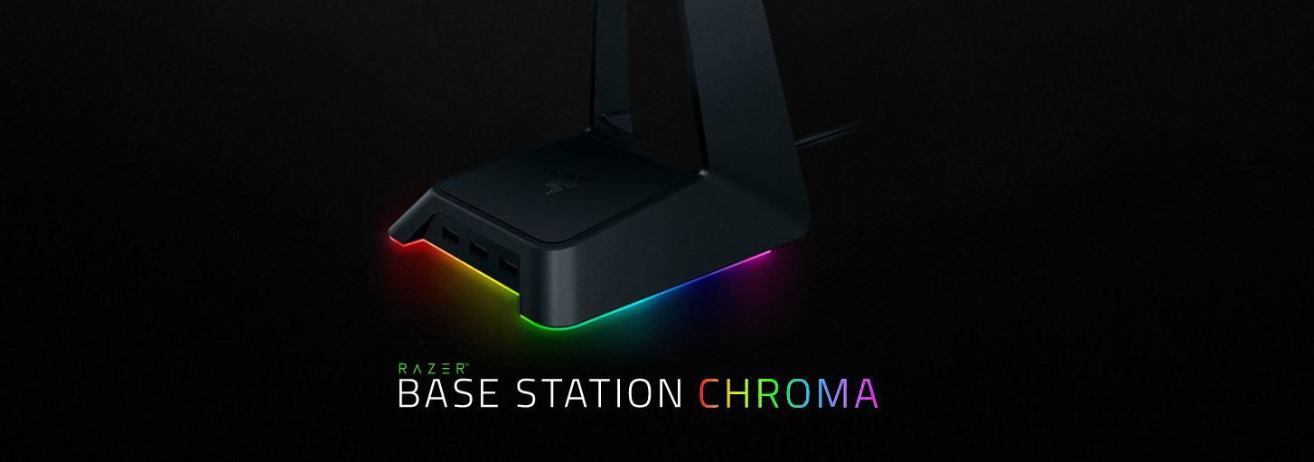 Giới thiệu Giá treo tai nghe Razer Base Station Chroma Chroma Enabled Headset Stand with USB Hub - Quartz - FRML Packaging (RC21-01190200-R3M1