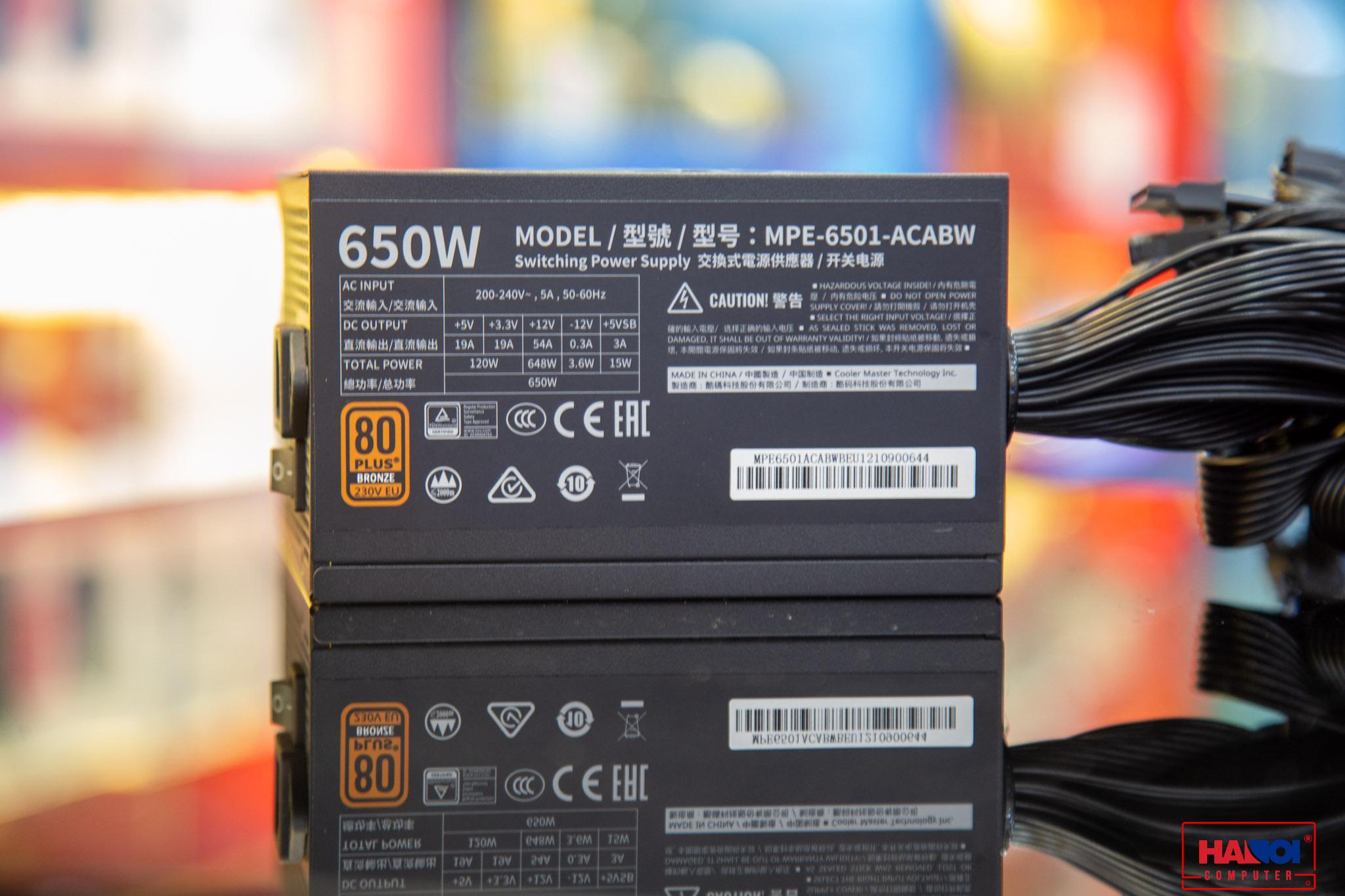 Nguồn máy tính Cooler Master MWE V2 230V 650 650W Plus Bronze (80 Plus Bronze/Màu Đen) giới thiệu 5