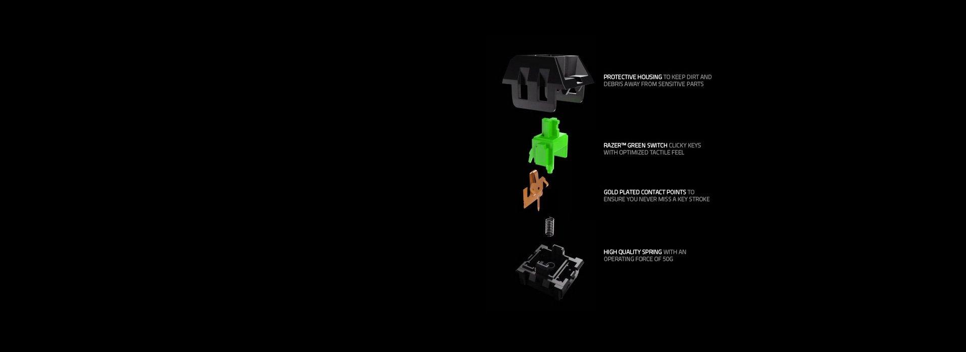 Bàn phím cơ Razer BlackWidow Tournament Edition Chroma (RZ03-01430200-R3M1)  có độ bền cao