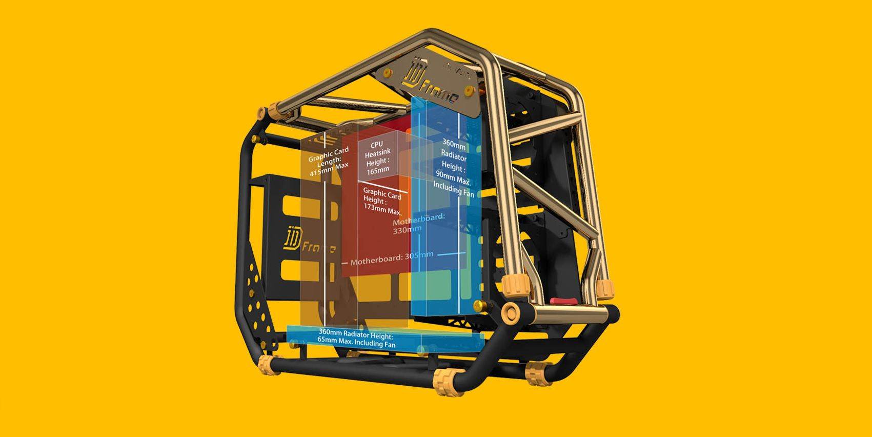 Vỏ Case IN WIN D-Frame 2.0 + SII-1065W - 30th Anniversary Premium Signature Combo Full Tower Đồng thiết kế rộng rãi