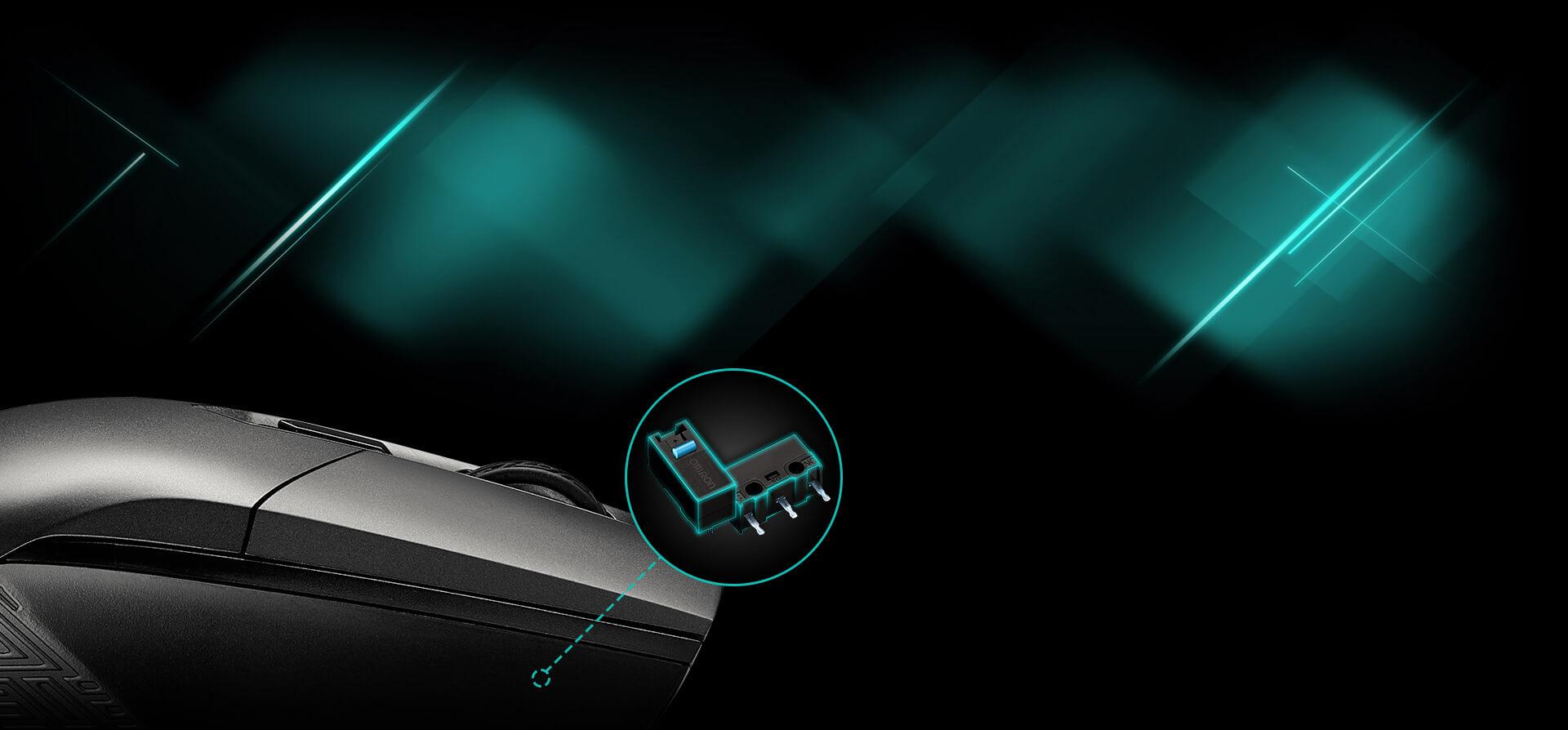 Chuột chơi game Asus ROG Strix Impact sử dụng switch bấm Omron
