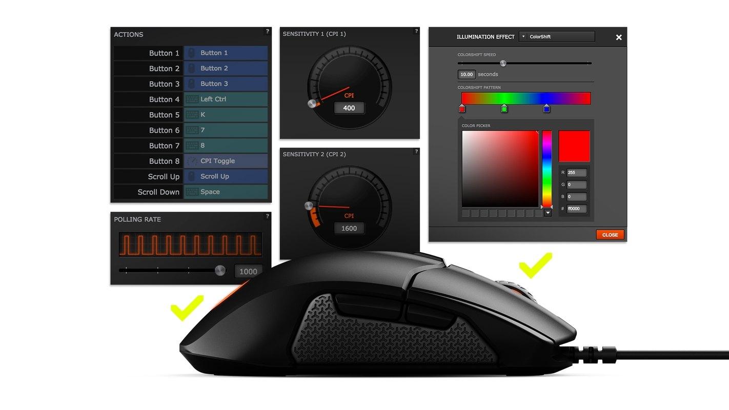 Chuột chơi game SteelSeries Sensei 310 Black (RGB) có thể lưu trữ setting memory onboard dễ dàng