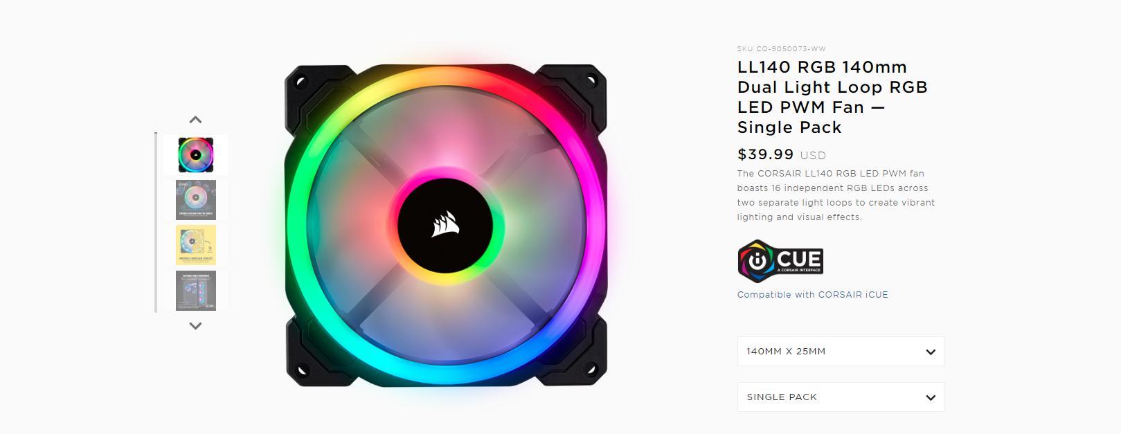 Fan Case Corsair LL140 RGB 140mm Dual Light Loop RGB LED Single Pack trang bị 16 đèn LED RGB độc lập trên hai vòng ánh sáng riêng biệt để tạo ra hiệu ứng ánh sáng và hình ảnh sống động.