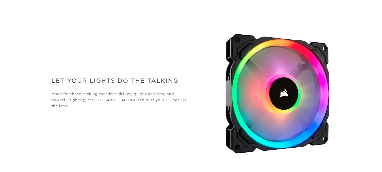 Fan Case Corsair LL140 RGB 140mm Dual Light Loop RGB LED Single Pack đem tới cho PC của bạn trở lại vòng ánh sáng cực kỳ huyền ảo