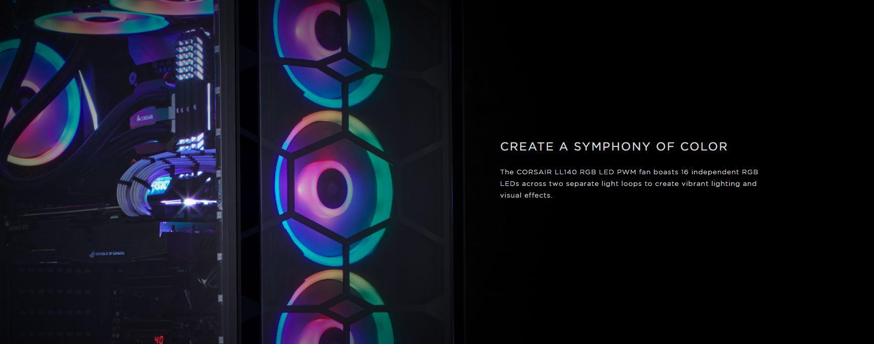 Fan Case Corsair LL140 RGB 140mm Dual Light Loop RGB LED Single Pack tự hào có 16 đèn LED RGB độc lập trên hai vòng ánh sáng riêng biệt để tạo ra hiệu ứng ánh sáng và hình ảnh sống động.