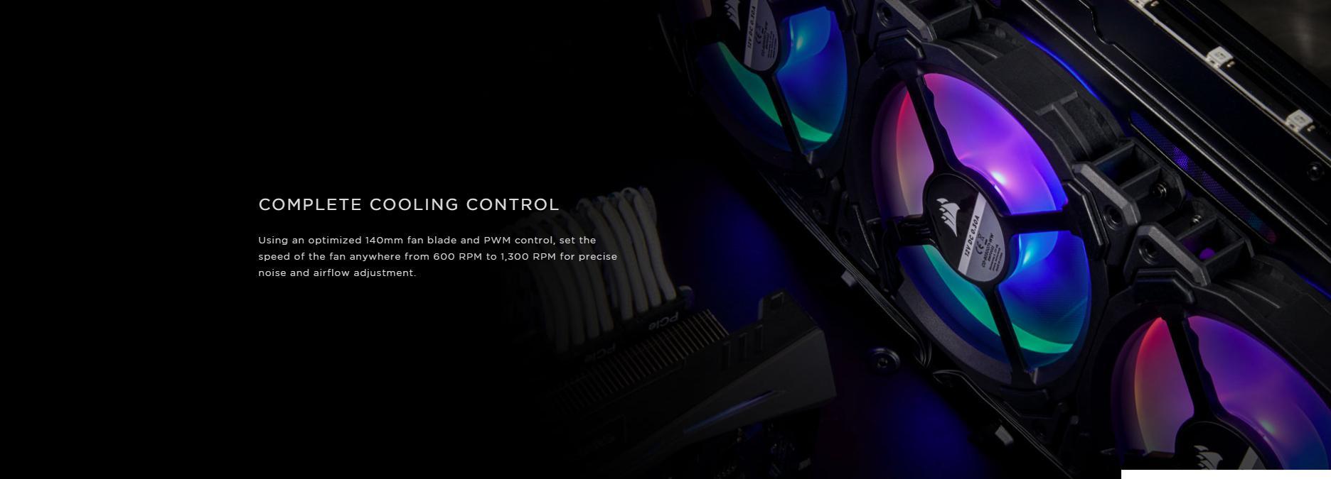 Fan Case Corsair LL140 RGB 140mm Dual Light Loop RGB LED Single Pack sử dụng cánh quạt 140mm và điều tốc PWM được tối ưu hóa, tuỳ chỉnh tốc độ của quạt ở mọi mức từ 600 RPM đến 1.300 RPM để kiểm soát tiếng ồn và luồng khí chính xác.