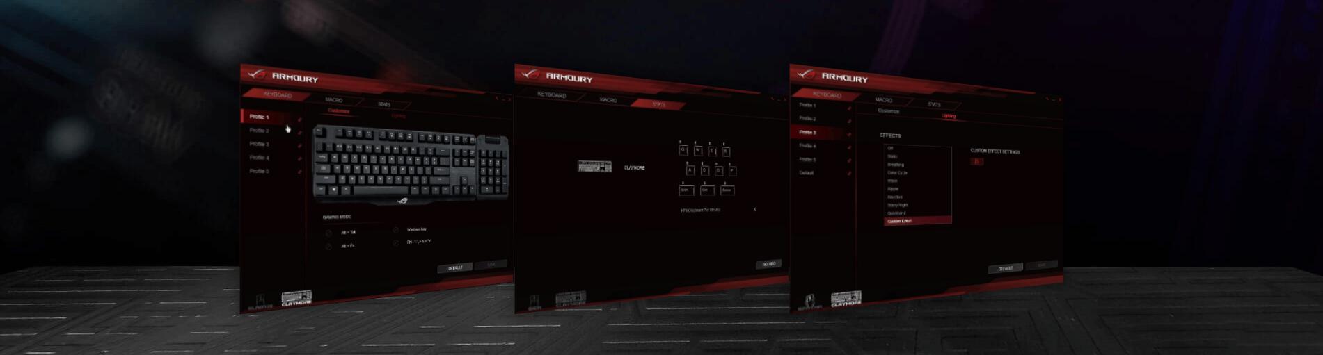 Bàn phím cơ Asus ROG Claymore Core RGB Aura Sync Cherry Blue switch có khả năng tuỳ chỉnh cá nhân cao