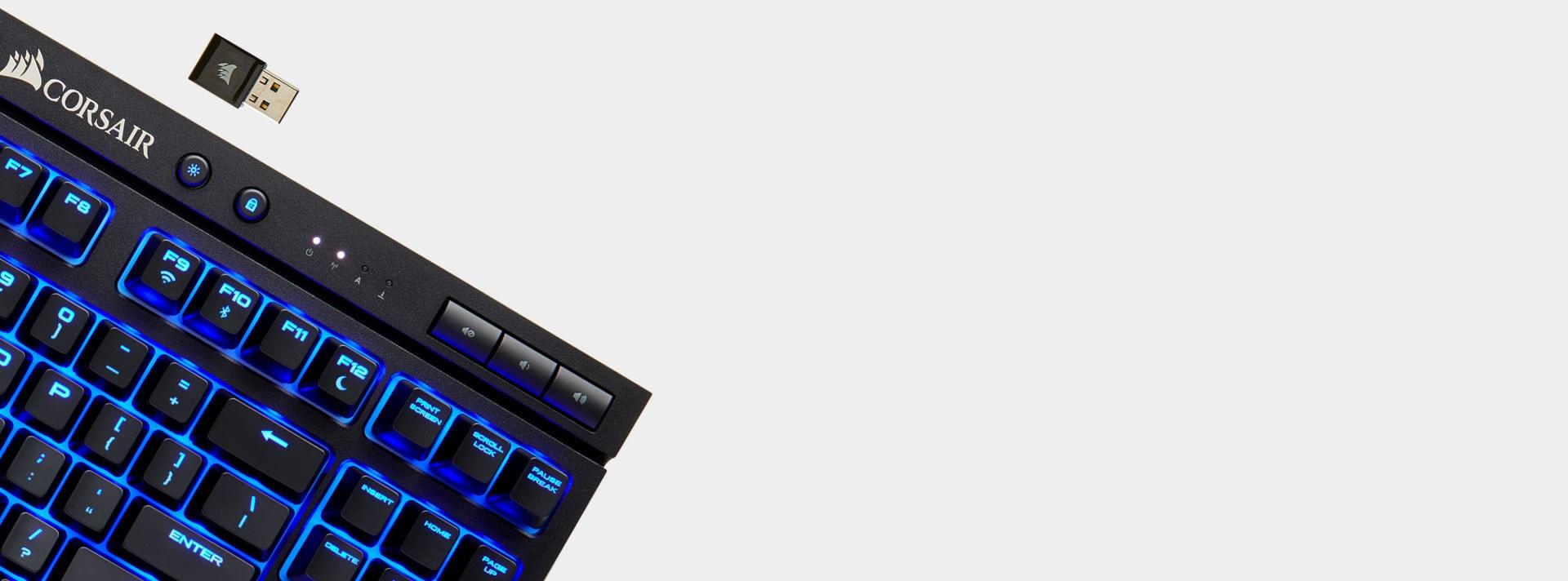 Bàn phím cơ Corsair K63 Wireless - Cherry MX Red (USB/Blue Led) (CH-9145030-NA) có kết nối rất đa dạng