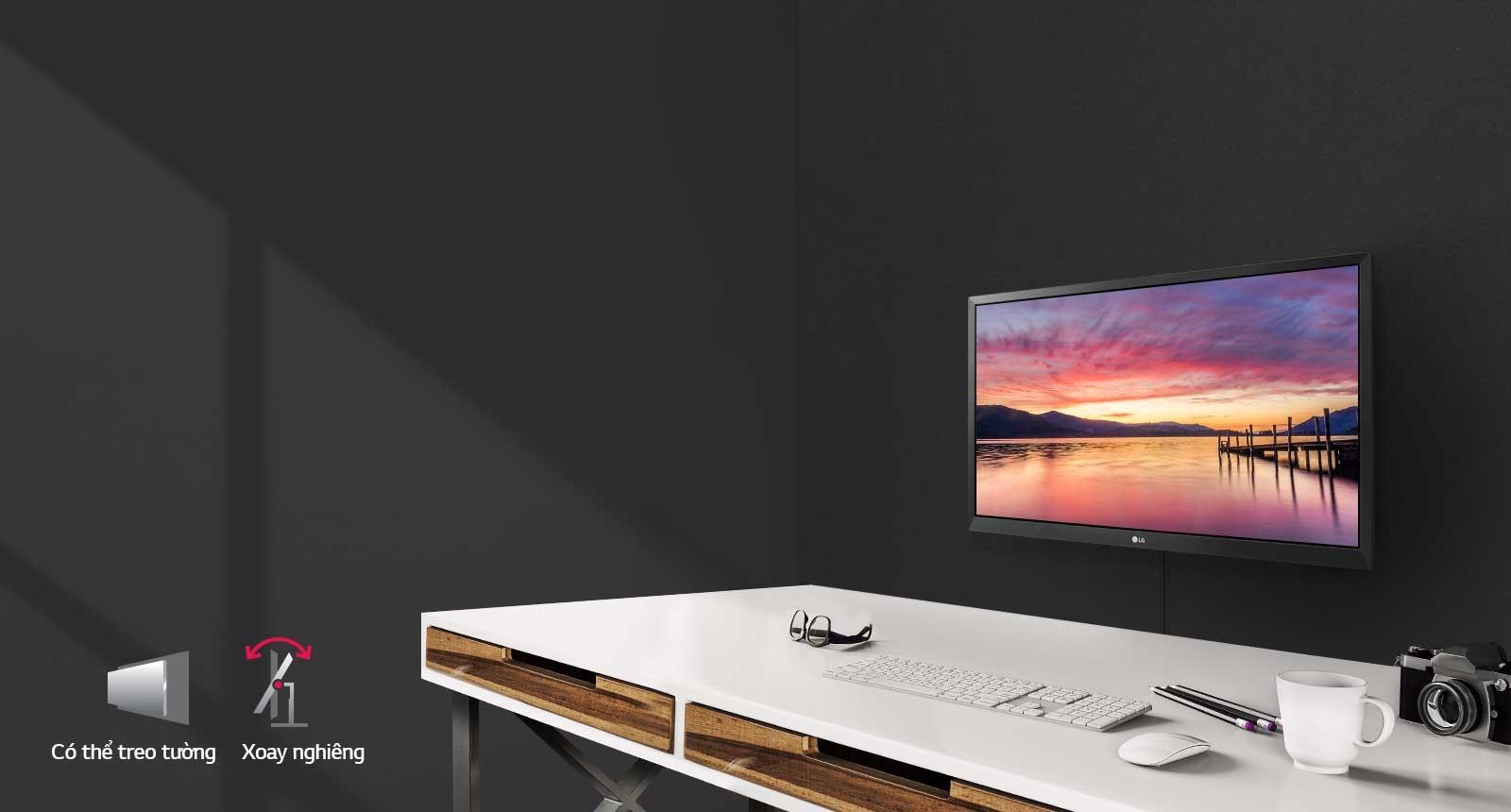 Màn hình LG 24MK430H-B treo tường