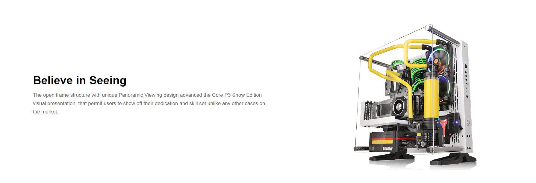 Vỏ Case Thermaltake Core P3 Tempered Glass (Mid Tower/Màu Đen/Kính Cong) hỗ trợ phần cứng tối đa