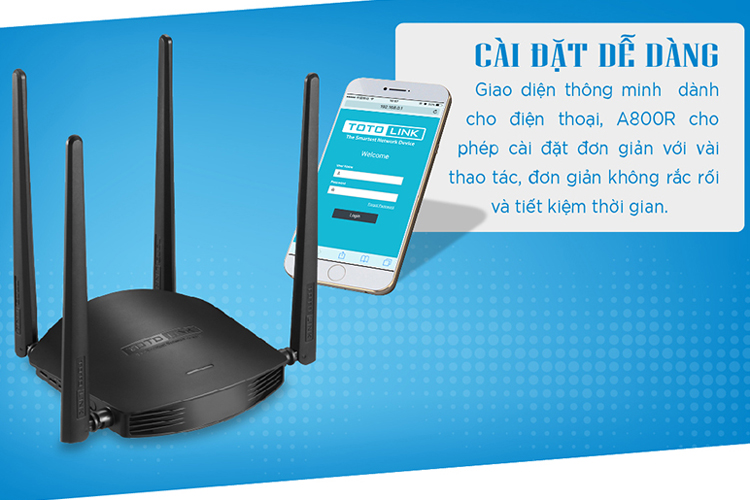 Router wifi Totolink A800R Wireless AC1200 4