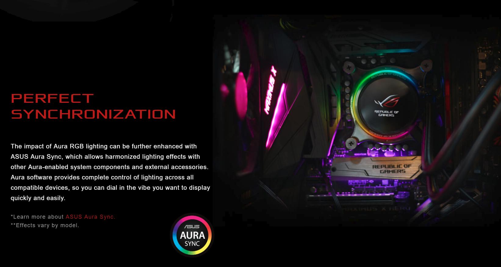 Tản nhiệt nước Asus ROG RYUO 120 - RGB 120mm Liquid CPU Cooler có khả năng đồng bộ hoàn hảo với ASUS Aura Sync
