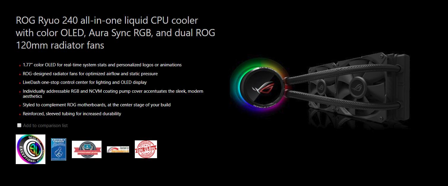 Tản nhiệt nước Asus ROG RYUO 240 - RGB 240mm Liquid CPU Cooler - Tản nhiệt chất lỏng với màn hình màu OLED, Aura Sync RGB, 2 quạt 120mm chuyên thổi radiator
