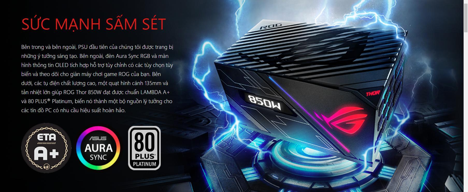 Nguồn Asus ROG Thor 850W Platinum - RGB 850W 80 Plus Platinum Full Modular giới thiệu 3