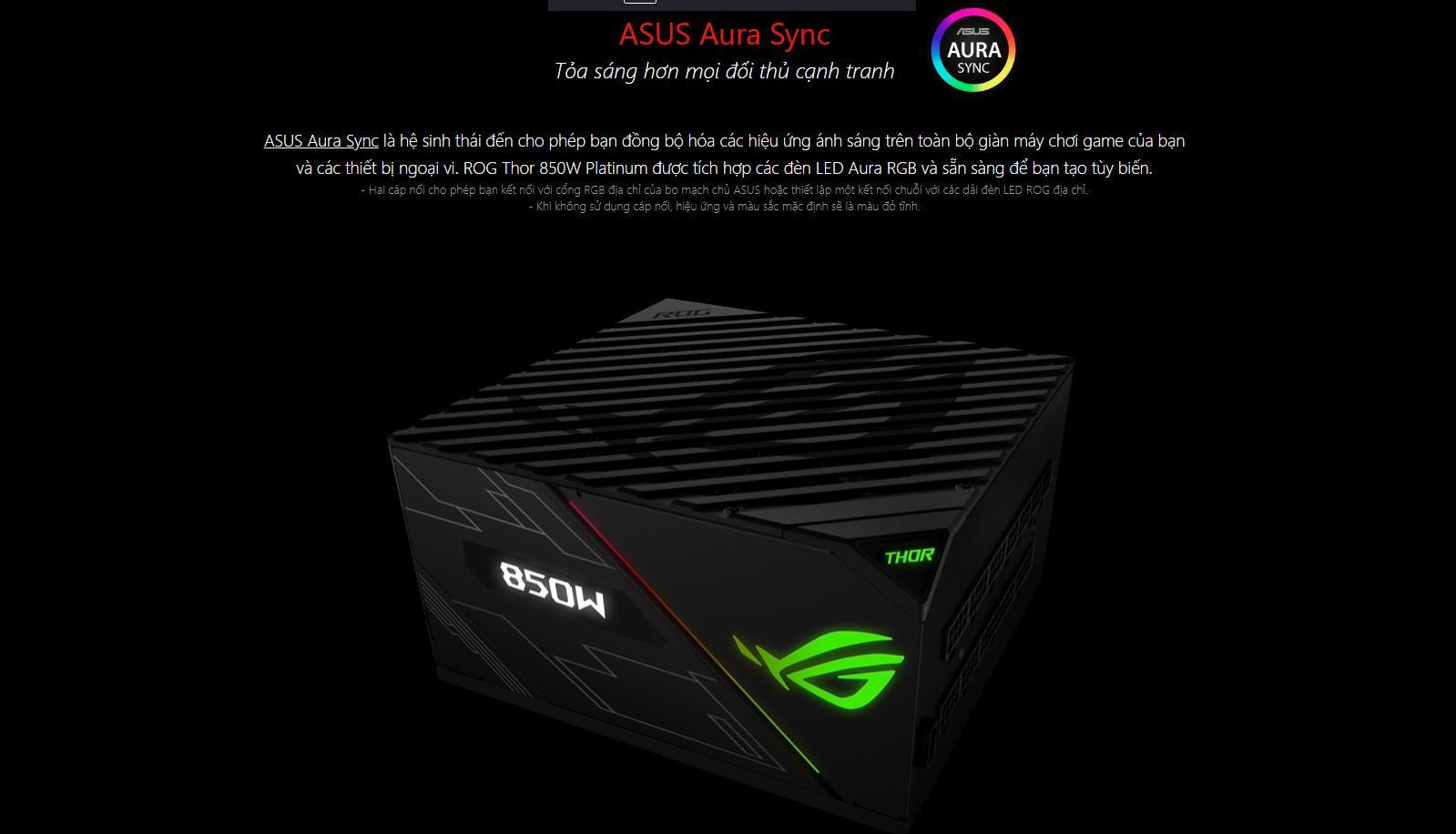 Nguồn Asus ROG Thor 850W Platinum - RGB 850W 80 Plus Platinum Full Modular AURA SYNC