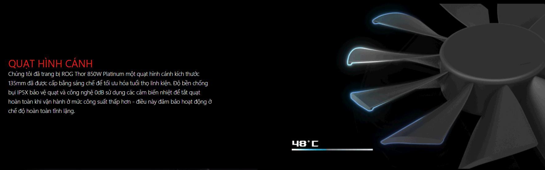 Nguồn Asus ROG Thor 850W Platinum - RGB 850W 80 Plus Platinum Full Modular quạt tản nhiệt