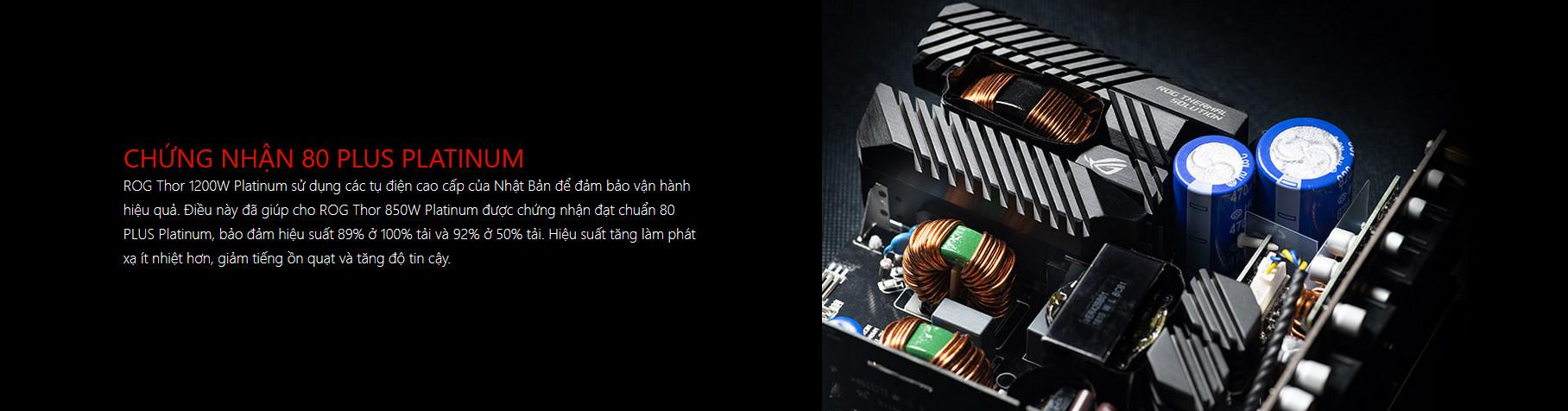 Nguồn Asus ROG Thor 1200W Platinum - RGB 1200W 80 Plus Platinum Full Modular chuẩn 80 plus