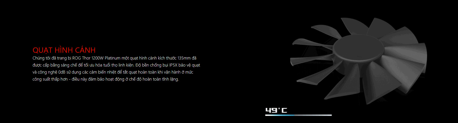 Nguồn Asus ROG Thor 1200W Platinum - RGB 1200W 80 Plus Platinum Full Modular thiết kế fan tản nhiệt