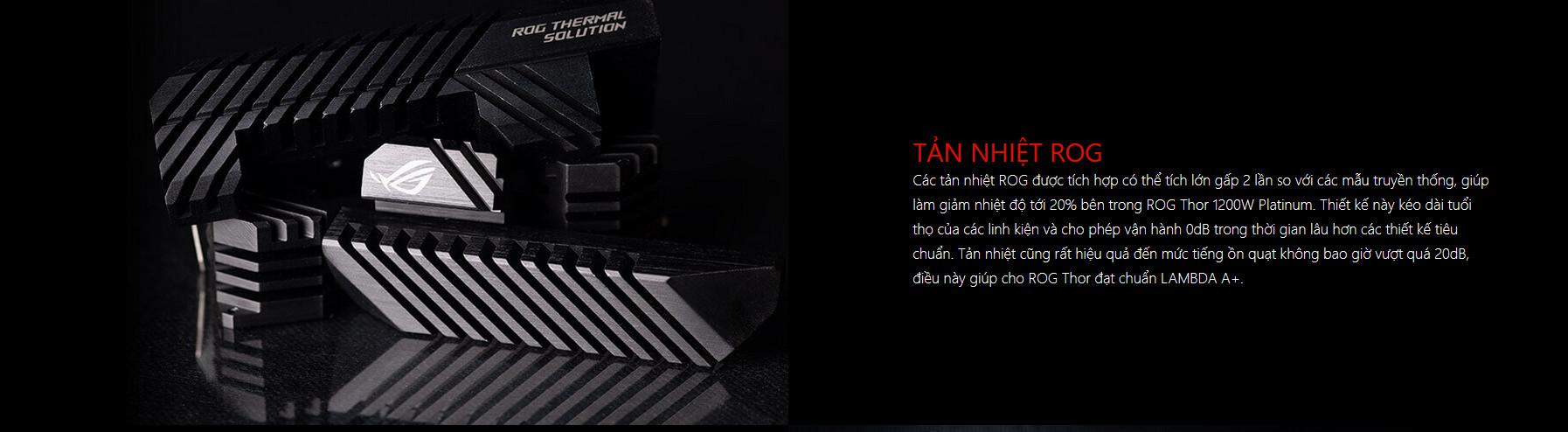 Nguồn Asus ROG Thor 1200W Platinum - RGB 1200W 80 Plus Platinum Full Modular thiết kế tản nhiệt