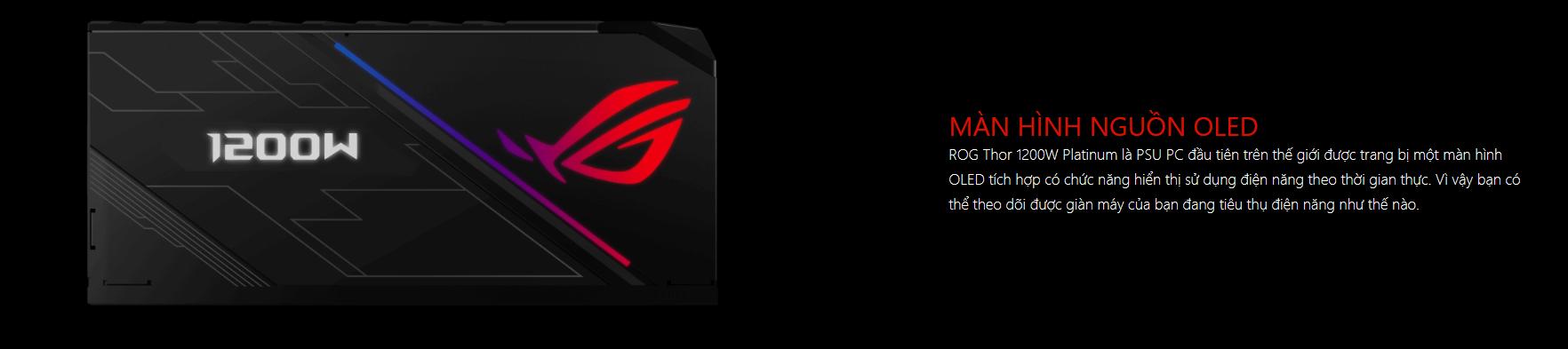 Nguồn Asus ROG Thor 1200W Platinum - RGB 1200W 80 Plus Platinum Full Modular màn hình OLED