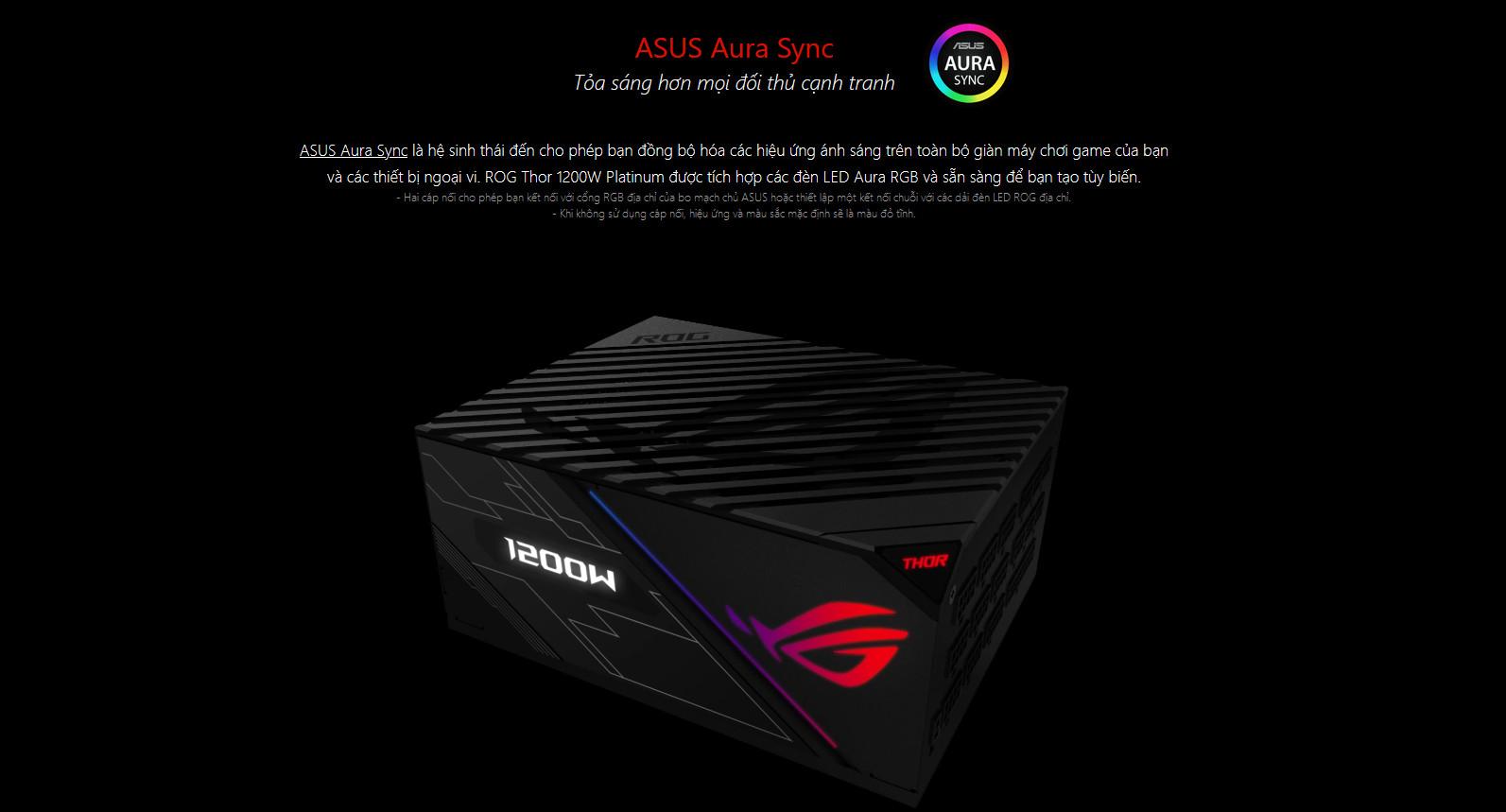 Nguồn Asus ROG Thor 1200W Platinum - RGB 1200W 80 Plus Platinum Full Modular Aura Sync