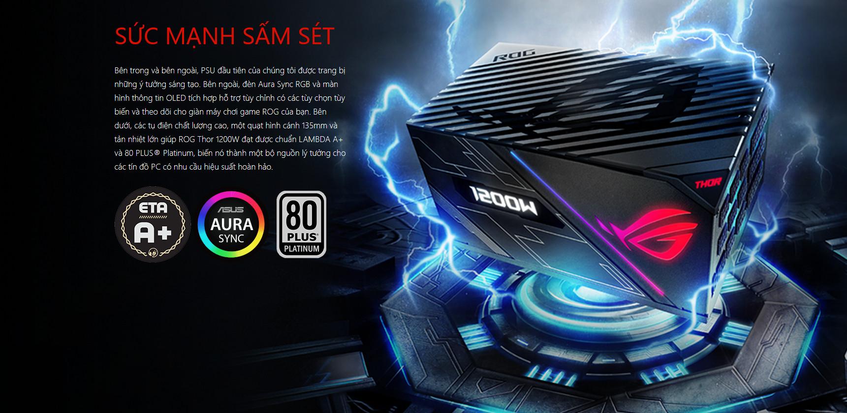 Nguồn Asus ROG Thor 1200W Platinum - RGB 1200W 80 Plus Platinum Full Modular giới thiệu