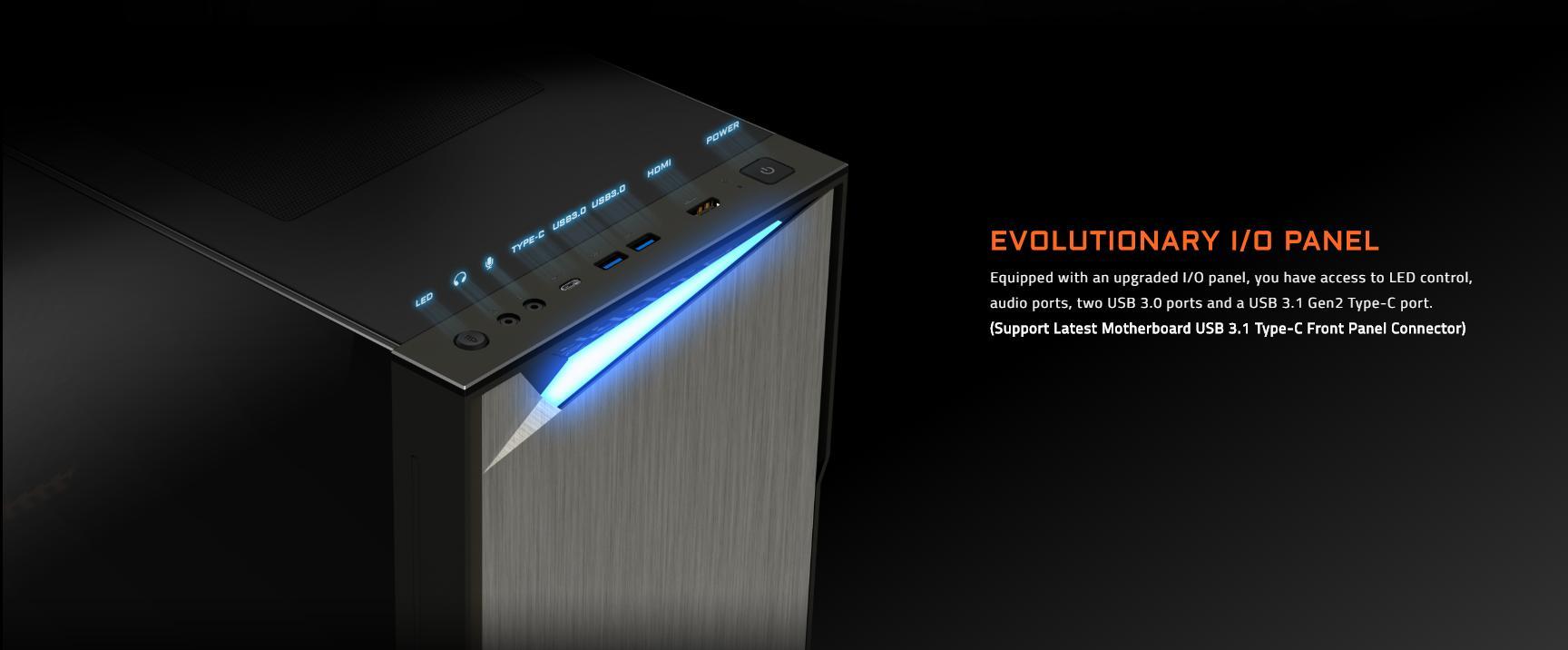 Vỏ Case Gigabyte GB-AC300G Tempered Glass Gaming (Mid Tower/Màu Đen/Led RGB) được trang bịmặt I/O tiên tiếnvới nút điều chỉnhLED, cổng âm thanh và ba cổng USBtrong đó cóUSB Type-C